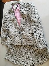 Vintage BEBE White and black one button Skirt Suit with pink lining size 6