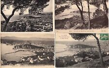 Lot 4 cartes postales anciennes NICE vue depuis le mont-boron
