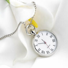 Antique White Dial Quartz Round Pocket Watch Necklace silver Chain Pendant DI