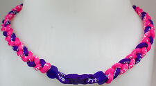 """NEW! 20"""" Custom Clasp Braided Sports Pink Purple Tornado Necklace Twisted Neon"""