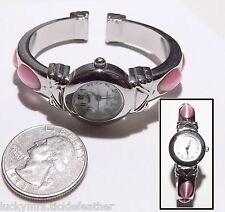 STUDIO Y Bracelet Quartz Watch, Pearlized Face, Smoky Pink Fiber Optic Cab Band