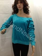 Juicy Couture South Pacific Relaxed Off The Shoulder Crew Shirt - Velour Size M