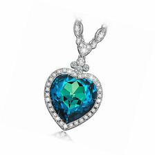 Heart of the Ocean Titanic Sapphire Pendant Necklace Made with Swarovski Crystal