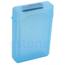 "3.5"" Plastic SATA HDD IDE Hard drive Storage Enclosure Box Case Blue bag"