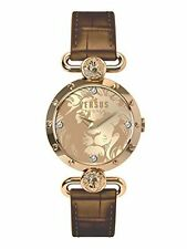 Versus by Versace Women's Sunnyridge Watch SOL060015 Swarovski IP Gold Leather