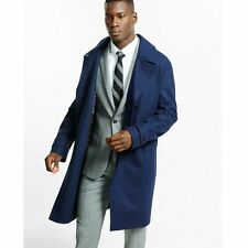 new MENS EXPRESS double breasted water resistant top coat trench l large blue