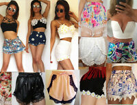 Womens Vintage Hotpants Denim Tropical Lace Crochet Floral POM POM Trim Shorts 4