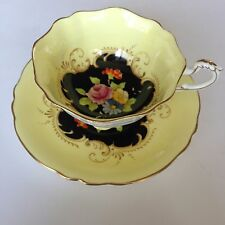 Paragon Tea Cup & Saucer Set Bright Yellow Black Center with Florals