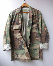 Vintage Army Camo Jacket Shirt Camouflage Faded Distressed Small
