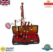 Scottish Great Highland Bagpipes Rosewood Silver Amounts/Bagpipes with Hard Case
