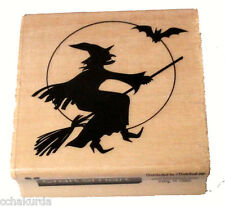 Flying Witch Moon Rubber Stamp NEW Halloween Craftsmart Wood Mount Bat Broom