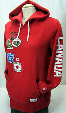Hudson Bay Co Canada Olympic Fleece Lined Red Pullover Hoodie Women's XL Patches