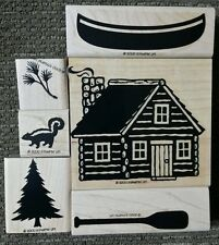 Stampin' Up CABIN Set of 6 Wood Mounted Rubber Stamps Lot Canoe Skunk