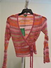 NWT- UNITED COLORS OF BENETTON Mohair Blend Multi-Colored Tied Sweater - Size-L
