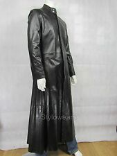 New Matrix Movie NEO The One Mens Black Gothic Style Designer Long Leather Coat