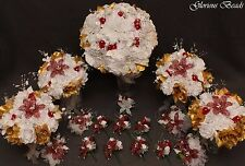 BURGUNDY GOLD BEADED LILY Bridal Bouquet Wedding Flower 17 PC Set  Beads Roses