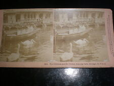 Old stereoview photograph boating at Lincoln Park Chicago by W Kilburn USA 1890