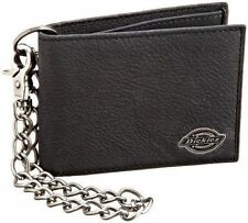 Dickies Men's Leather Slimfold Wallet With Chain (31DI1304-Blac
