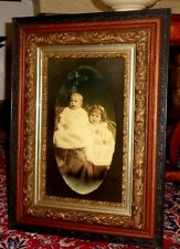ANTIQUE OAK & GESSO FRAME w/PORTRAIT OF TWO YOUNG CHILDREN (CIVIL WAR ERA) -