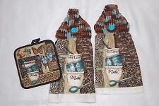 Three Pc Kichen Set CROCHET TOP HANGING TOWELS Hot Pad BROWN AQUA Coffee Mocha