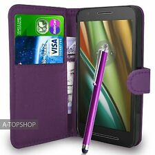 Purple Wallet Case PU Leather Book Cover For Motorola Moto E3 (2016) Mobile