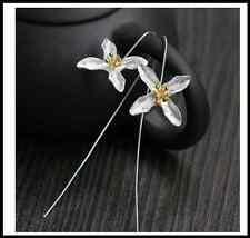 Simple 925 Sterling Silver Lilac Flower Long Drop Line Earrings Bridal Wedding