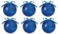 Pack Of 6 - 75mm Blue Glittery Decorated Baubles With Ribbon  (PR11)