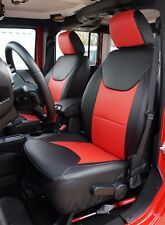 JEEP WRANGLER 2013-2016 BLACK/RED LEATHER-LIKE CUSTOM MADE FIT FRONT SEAT COVER