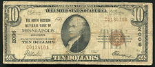 1929 $10 THE NORTH WESTERN NB OF MINNEAPOLIS, MN NATIONAL CURRENCY CH. #2006