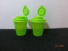 NEW TUPPERWARE MINI MIDGET SALT AND PEPPER SHAKER GREEN SET OF 2 Camper Camping