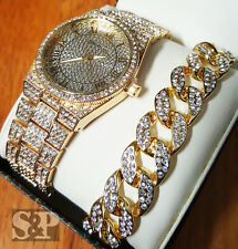 HIP HOP ICED OUT GOLD PLATED LAB DIAMOND WATCH & CUBAN CHAIN BRACELET COMBO SET
