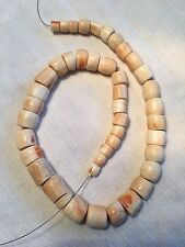 * HUGE ANTIQUE VINTAGE AFRICAN CONCH SHELL BEAD STRAND TRADE NECKLACE 192 GRAMS!