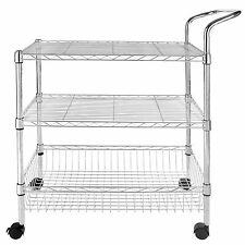 3-Tier Wire Rolling Kitchen Utility Cart Trolley Rack Food Service w/handle