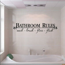 Bathroom Rules Words Quote Removable Vinyl Art Decal Wall Sticker For Bath Decor