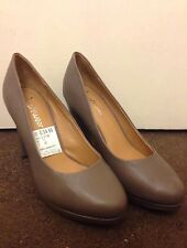 Clarks Softwear Size 7 Purple Abby Taupe Leather Court Shoes Block Heels 3.5""