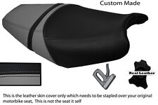 BLACK AND GREY CUSTOM FITS KAWASAKI ZZR 1400 ZX14 06-11 DUAL LEATHER SEAT COVER