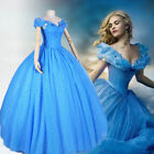 """Princess Cinderella Cosplay Costume Adult Women Prom Party Dress+28""""Cosplay wig"""