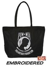 EMBROIDERED POW MIA YOU ARE NOT FORGOTTEN Heavy Duty TOTE BAG-Beach Travel Shop