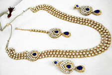 Gold Tone Long Kundan Blue Set Necklace Tikka Earring Wedding Jewelry Bridal 136