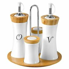 4pc Condiment Bamboo/Ceramic Set Oil/Vinegar/Salt/Pepper Bottles Canister Jar