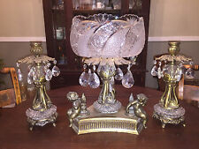 Antique Cut Glass Prism Brass Compote  Bowl Cherub Candle Holder Set