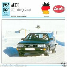 AUDI 200 TURBO QUATTRO 1985 1990 CAR VOITURE GERMANY ALLEMAGNE CARD FICHE
