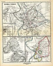 1903 old antique map of ANCIENT WORLD empire CITY OF ROME Roman insert forum 9
