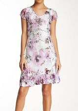 Sz. L 12 - 14  Komarov Floral Print Lace Sleeve Dress
