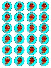 X24 CARTOON FISH  FACE CUP CAKE TOPPERS DECORATIONS ON EDIBLE RICE PAPER