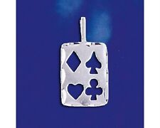 Sterling Silver Playing Card Pendant Poker Lucky Charm Solid Italian 925 Italy