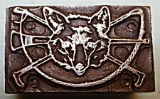 """FOX HUNTING"" PRINTING BLOCK."