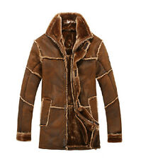 Winter Men's Lapel Jacket Fur Leather Warm Lining Long Trench Loose Coats Size
