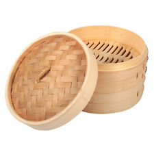 "2 Tiers 8"" Durable Bamboo Steamer Dim Sum Basket Rice Pasta Snack Cooker Set GW"