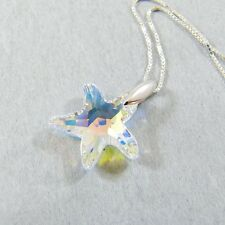 925 Sterling Silver Swarovski Element Crystal Starfish Pendant Necklace Clear AB